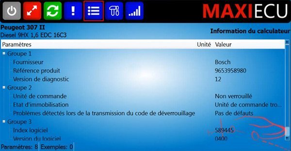 Informations du calculateur MaxiEcu