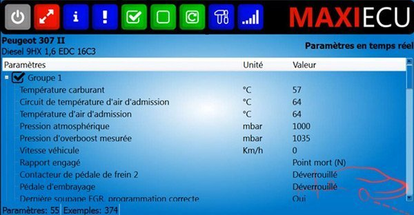 Paramètres en temps réel MaxiEcu