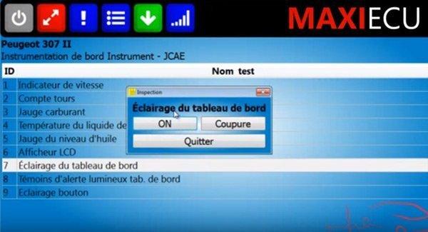 Test actionneurs MaxiEcu